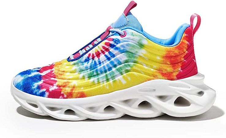 Amazon.com | LUCKY STEP Women's Tie Dye Platform Fashion Sneaker Chunky Rainbow Lace up Light Weight Running Walking Shoes | Walking
