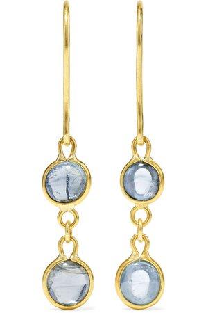 Pippa Small   18-karat gold aquamarine earrings   NET-A-PORTER.COM