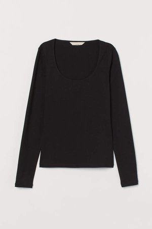 Silk-blend Top - Black