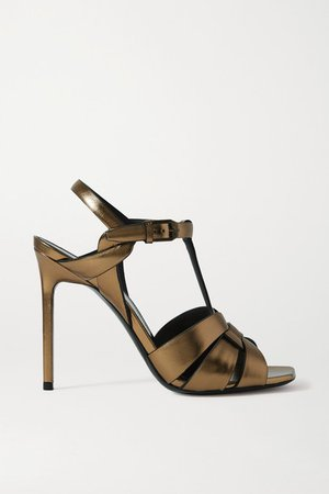 Catri Woven Metallic Leather Sandals - Gold