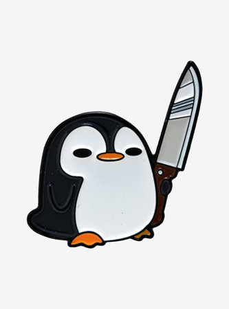 Penguin With Knife Enamel Pin