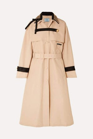 Studded Cotton-blend Twill Trench Coat - Beige