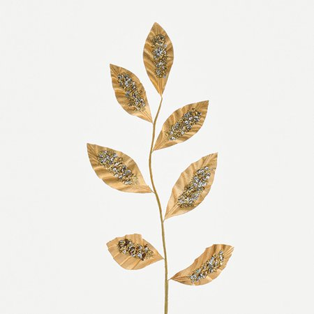 "22"" Decorative Gold Leaves with Silver Sequins Artificial Christmas Branch"