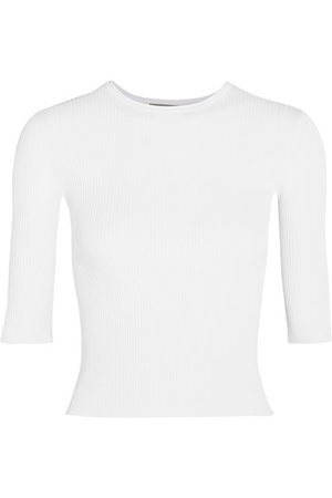 Vince Ribbed stretch-knit top White women Clothing Tops [850923] - $92.37 : Vince USA Outlet Store, Vince Shoes