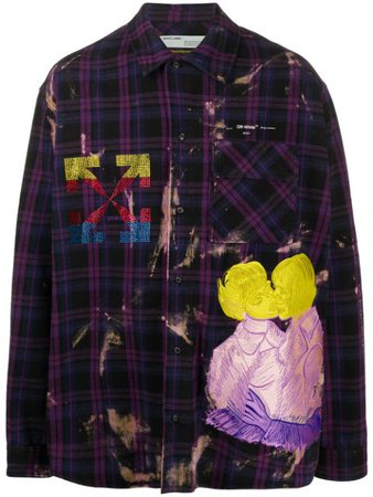 Off-White Kiss Over Embroidered Oversized Shirt OMGA098S20G710492988 Purple | Farfetch