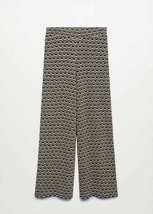 Printed straight pants - Women | Mango USA black