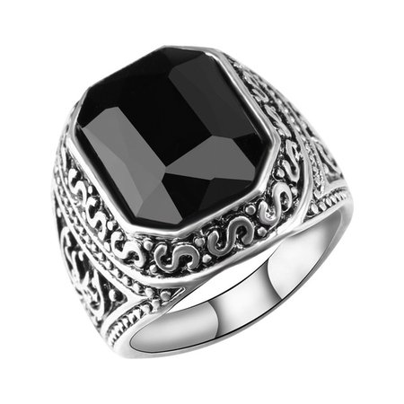 Antique Mens Rings Tibetan Silver Jewelry With Red Black Square Stone Retro Vintage Jewelry For Women anelli uomo-in Rings from Jewelry & Accessories on Aliexpress.com | Alibaba Group