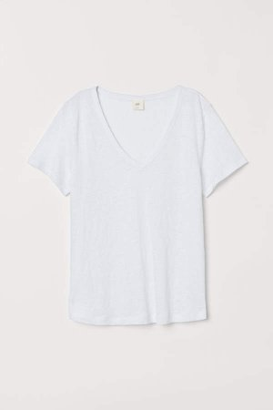 Linen Jersey Top - White