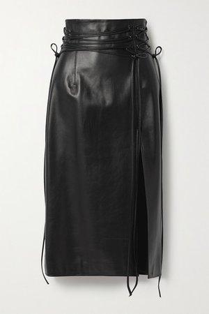 Lucerne Leather Midi Skirt - Black
