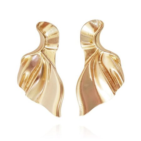 Celine Golden Leaf Craft Stud Earrings - Culturesse