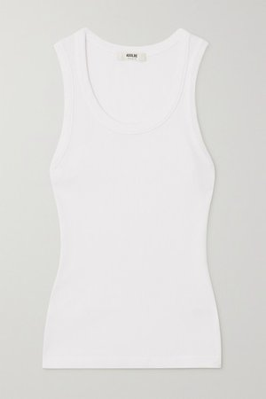 Poppy Ribbed Stretch Organic Cotton And Tencel-blend Jersey Tank - White