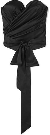 Draped Stretch Silk-satin Bustier Top - Black