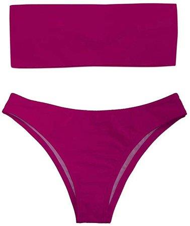 Amazon.com: Dellukee Women Bandeau Bikini Set Magenta Tube Off Shoulder 2 Pieces Swimsuit Bathing Suit: Clothing