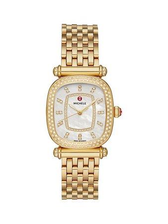 Michele Caber Isle 18K Yellow Gold & Diamond Bracelet Watch | SaksFifthAvenue