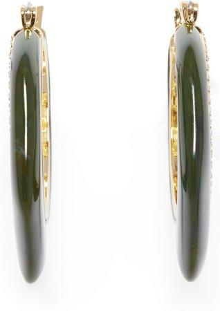 Resin & Pave Hoop Earrings