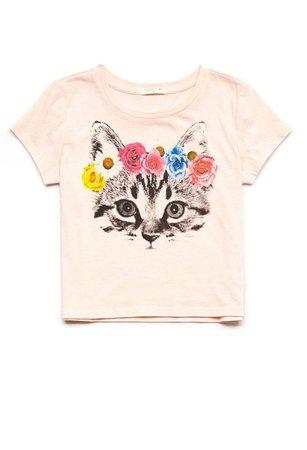 Forever 21 Cat Flower Crown Kids Tee (Girls)