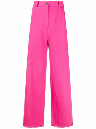 MSGM wide-leg fringed hem trousers pink 3042MDP106217309 - Farfetch