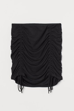 Draped Mesh Skirt - Black