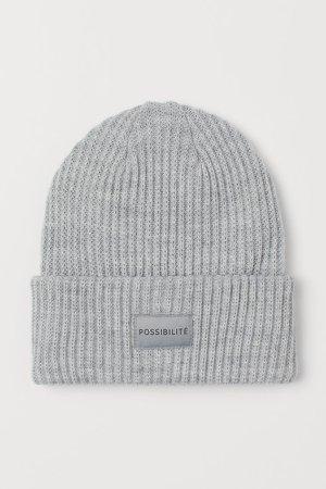 Rib-knit Hat - Gray