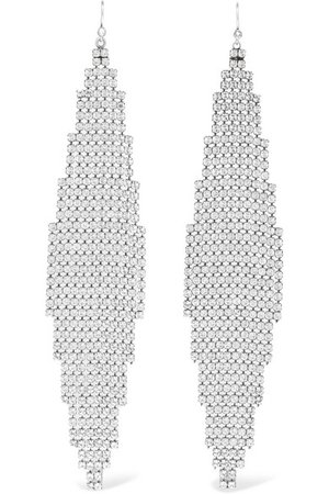 Saint Laurent | Silver-tone crystal earrings | NET-A-PORTER.COM