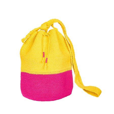 CROCHET BUCKET BAG | CROCHET BAG | MOCHILA | pink | yellow | colorblock