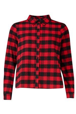Petite Check Swing Shirt red black