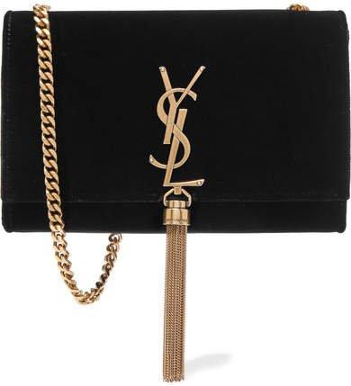 Monogramme Kate Velvet Shoulder Bag - Black