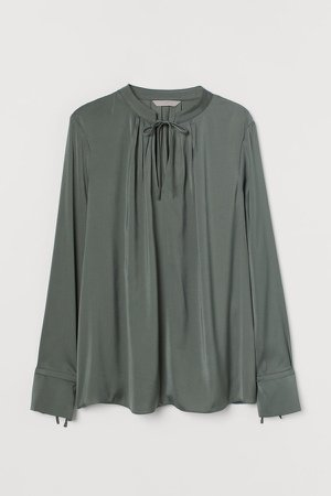 Tie-detail Blouse - Green