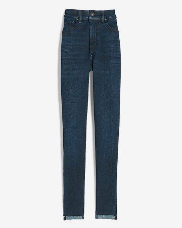 High Waisted Supersoft Raw Step Hem Skinny Jeans
