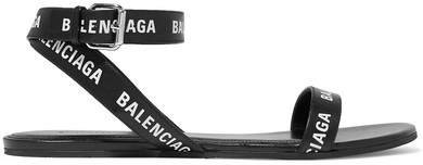 Logo-print Leather Sandals - Black