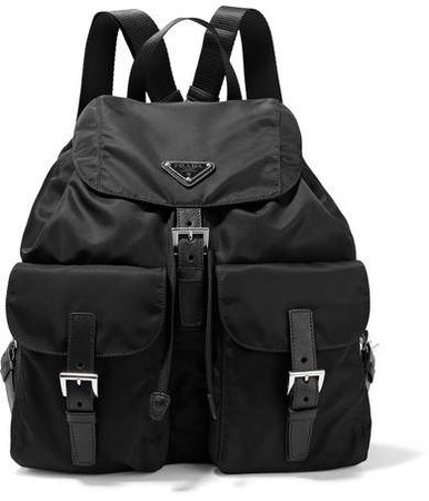 Vela Large Leather-trimmed Shell Backpack - Black