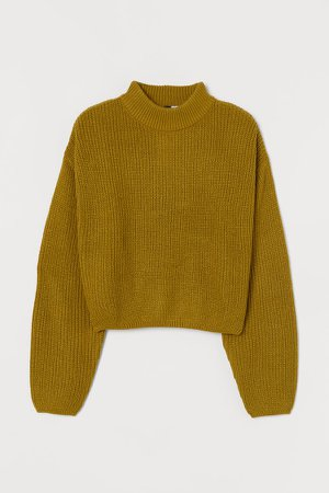 Knit Mock-turtleneck Sweater - Yellow