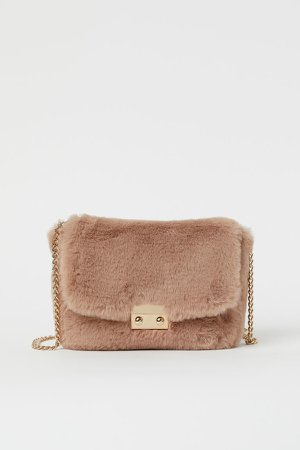 Faux Fur Shoulder Bag - Orange