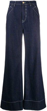 Fontana contrast-stitch wide-leg jeans