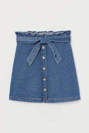 Denim Paper-bag Skirt - Blue