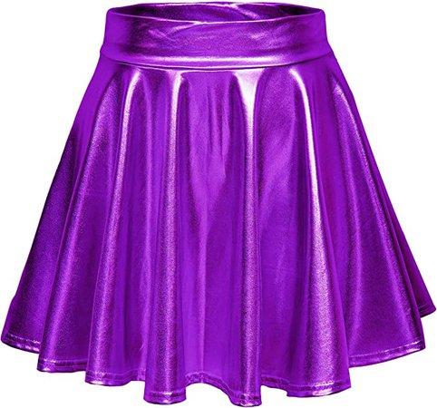 Women's Shiny Flared Pleated Mini Skater Skirt (L, Purple) at Amazon Women's Clothing store
