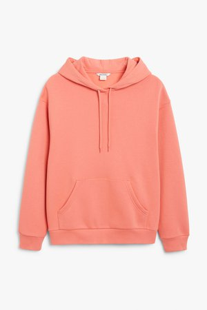 Soft drawstring hoodie - Coral - Sweatshirts & hoodies - Monki WW