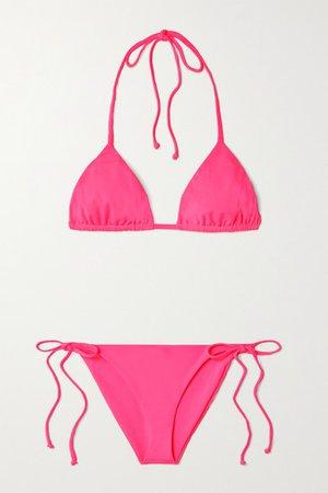 Net Sustain Rae Triangle Halterneck Bikini - Bright pink