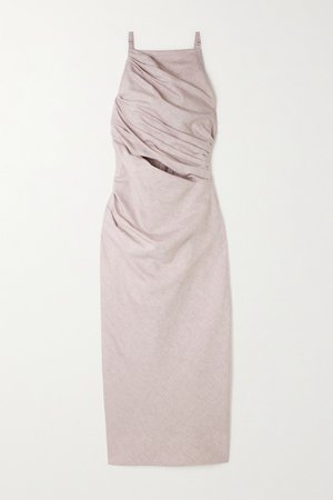 Lilac Cutout cotton and linen-blend midi dress | Jacquemus | NET-A-PORTER