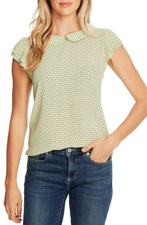 CeCe Collared Pleated Sleeve Top | Nordstrom