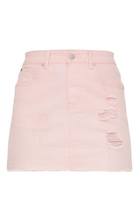 BABY PINK DISTRESSED DENIM MINI SKIRT