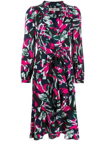 Shop blue & pink DVF Diane von Furstenberg Carla wrap dress with Express Delivery - Farfetch