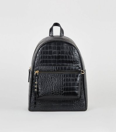 Black Faux Croc Backpack | New Look