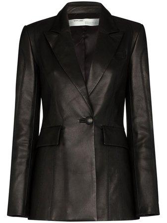 Off-White logo-print Leather Blazer - Farfetch