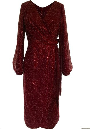 *Chi Chi London Burgundy Sequin Wrap Dress