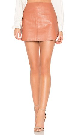 Karina Grimaldi Simon Leather Skirt in Pink   REVOLVE