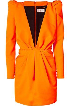 SAINT LAURENT | Gathered neon twill mini dress | NET-A-PORTER.COM