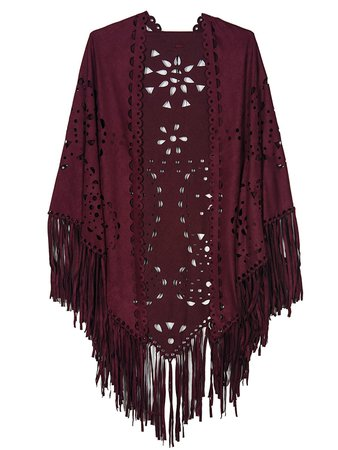 Rosey Fringed Cape Shawl