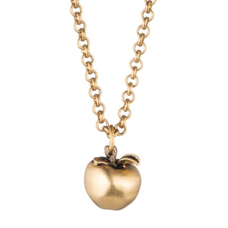 The Big Apple Necklace - Gold Apple Pendant Necklace – Orchard Jewelry by J. Mavec