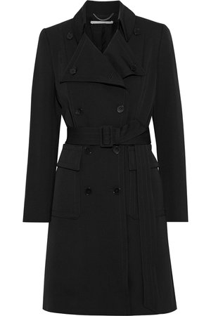 Black Erika wool-gabardine trench coat   Sale up to 70% off   THE OUTNET   STELLA McCARTNEY   THE OUTNET